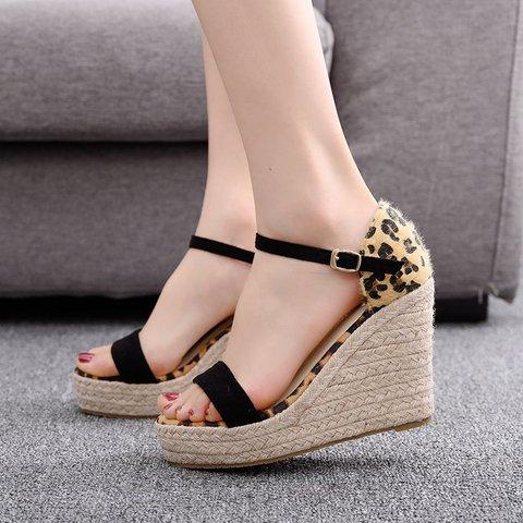Women's Sexy Leopard Printed Open Toe Wedge Heel Sandals