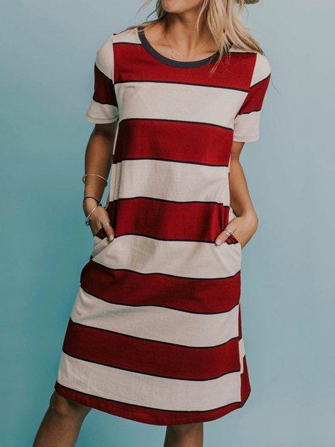 Stripes Plus Size Color-block Women Casual Summer T-shirt Dresses