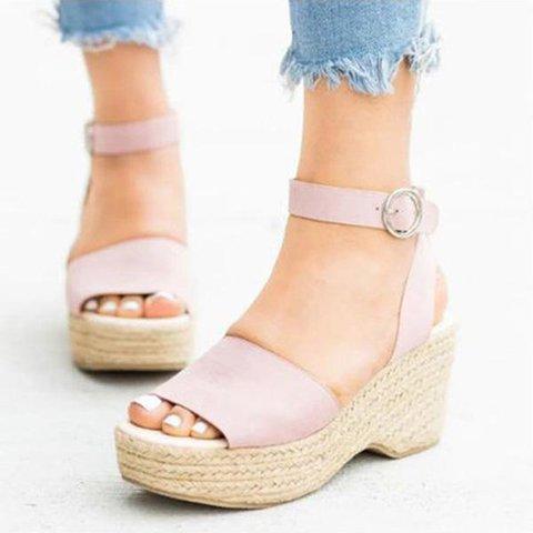 Women's Open Toe Wedge Heel Buckle Strap Sandals