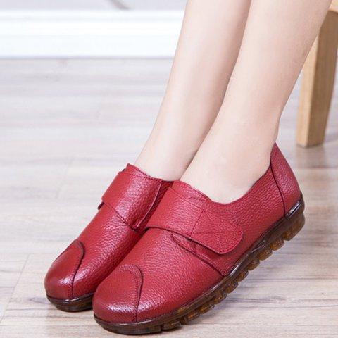 Womens Shoes Magic Tape Round Toe Flats Comfy Flats