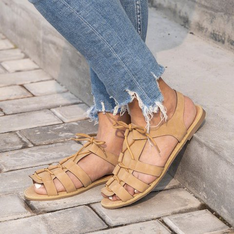 Womens Casual Rome Low Heel Lace-Up Sandals
