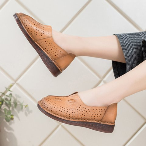 Womens Shoes Hollow Flats Slip On Plus Work Shoes