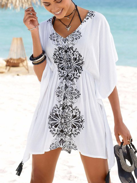 White Women Beach Mini Dresses V Neck Shift Cotton Dresses
