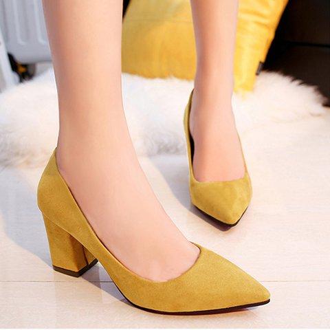 Suede Pointed Toe Chunky Heels Slide Sandals