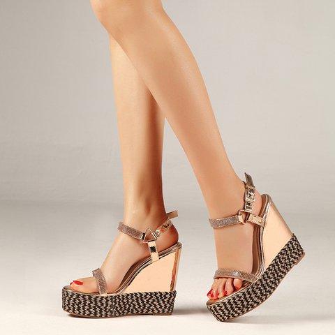 Chic Open Toe Platform Wedge Sandals