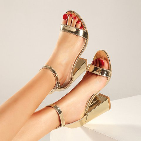 Women Casual Heeled Sandals Buckle Shoes