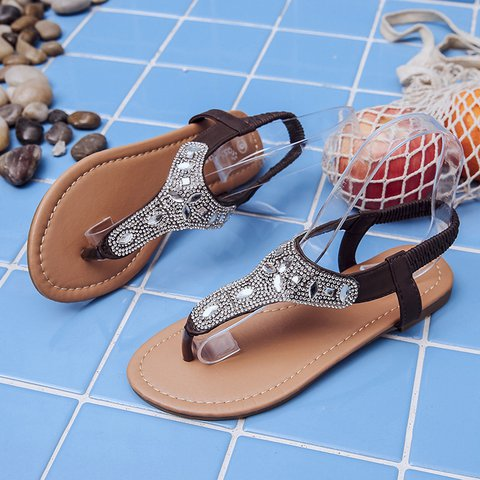 d7f38e411 Justfashionnow Sandals Rhinestone Deep Brown Flip-Flops Flat Heel ...