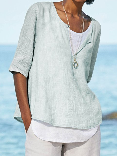 Womens Clothing Half Sleeve V Neck Cotton Solid Shirts