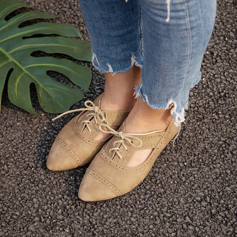 Comfy Cutout Loafers Lace-Up Pu Loafers