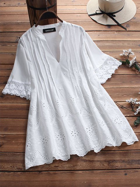 Plus Size V Neck Embroidered Short Sleeve Casual Solid Blouses