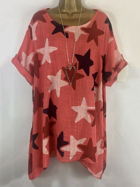 Short Sleeve Printed Casual Blouse