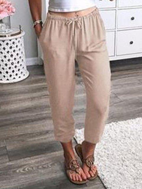 Solid Cotton-Blend Pockets Pants