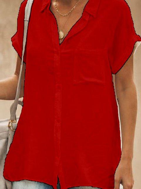 A-Line Buttoned Short Sleeve Cotton-Blend Shirts & Tops