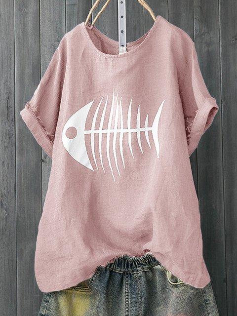 Plus Size Fish Bone Print Casual Women Summer T-shirts