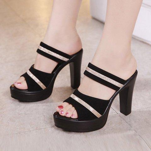 Women's Sexy Summer Chunky Heel Peep Toe Heels