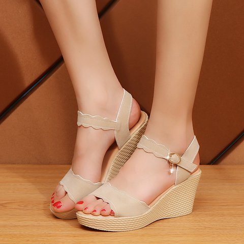 Women Adjustable Buckle Open Toe Wedge Sandals