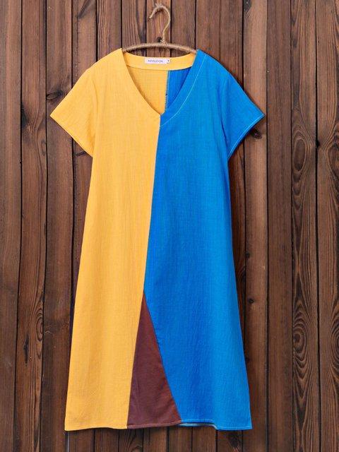 Women Summer Dresses Daily Vintage Color-Block Dresses