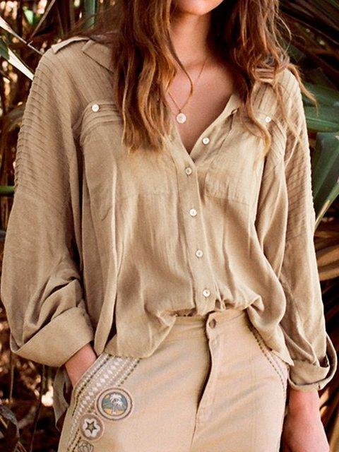 Shirt Collar Long Sleeve Casual Pockets Shirts & Tops
