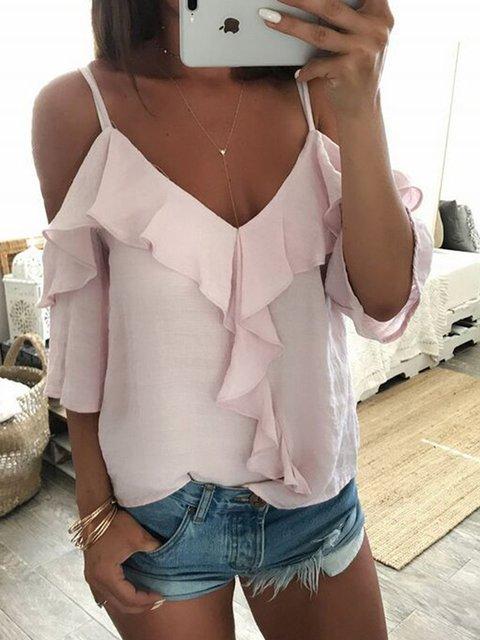 Pink Ruffled Sleeveless V Neck Solid Shirts & Tops
