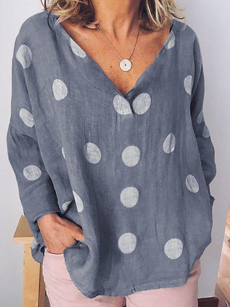 Casual V-neck Long Sleeve Polka Dots Blouse
