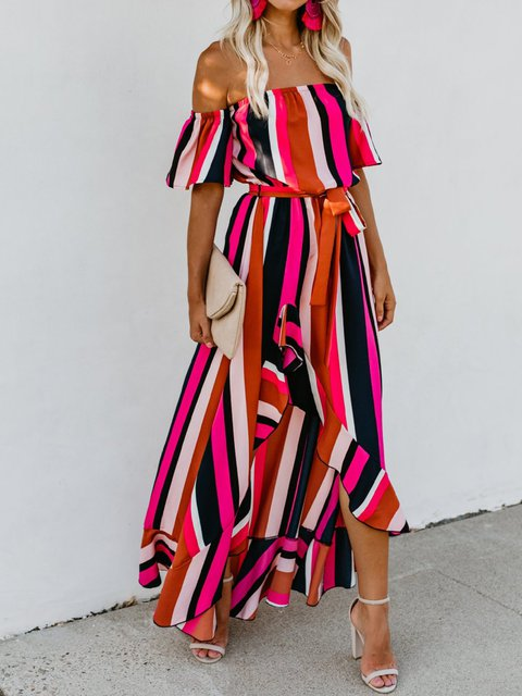 Summer Striped Dress Off Shoulder Asymmetrical Sexy Dresses with Belt