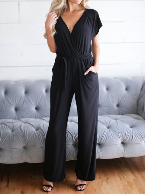 Summer Black Jumpsuits Pockets V-Neck Casual Jumpsuits with Belt