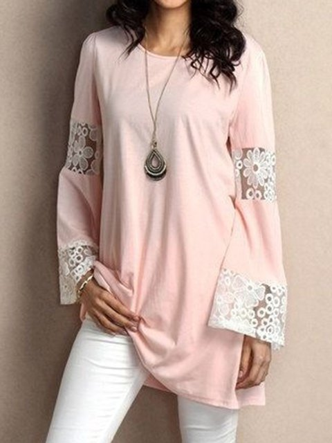 Women Tops Bell Sleeves Paneled Casual Lace Tops