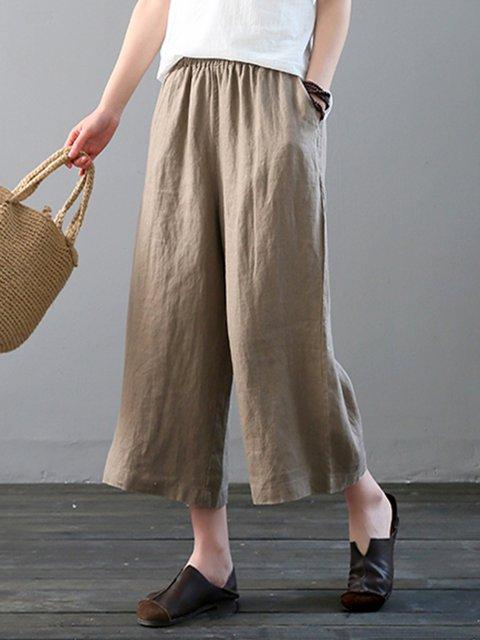 Women Wide Leg Plain Pants