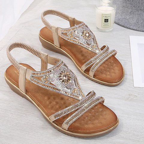 Women's Boho Shiny Comfy Casual PU Sandals