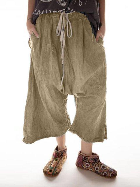 Women Pockets Cotton Casual Pants