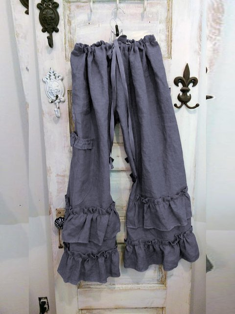 Folds Ruffled Pockets Solid Casual Linen Pants