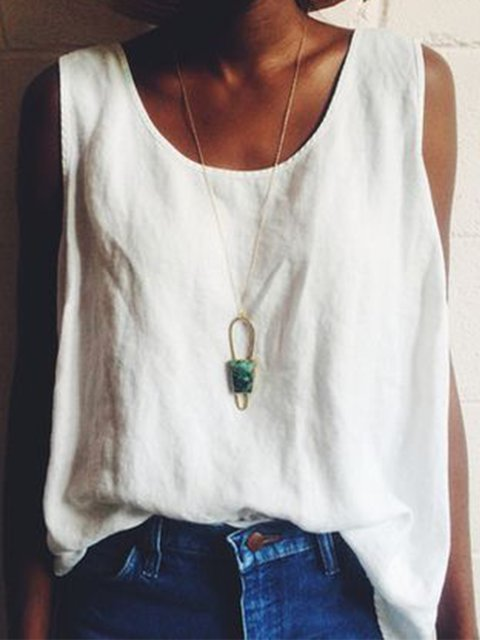 Paneled Boho Plain Cotton-Blend Crew Neck Sleeveless Blouses