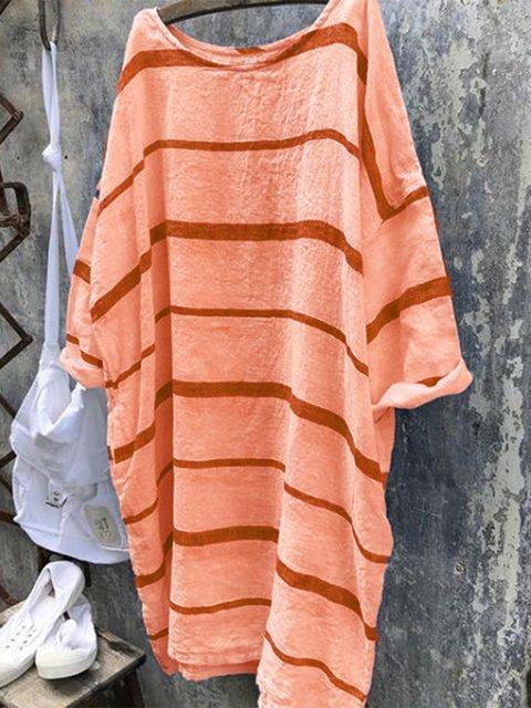 Striped Crew Neck Casual Dresses