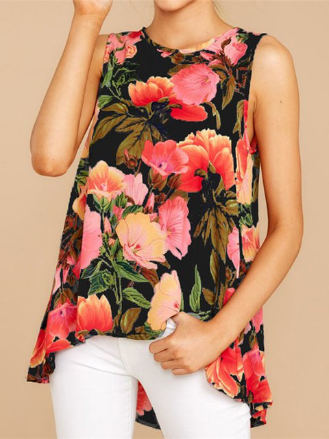 Women Summer Sleeveless Floral Shirts Casual Floral Tops