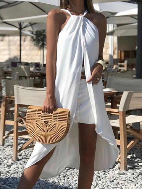Halter Sleeveless Slit Sexy Women Vacation Midi Dresses