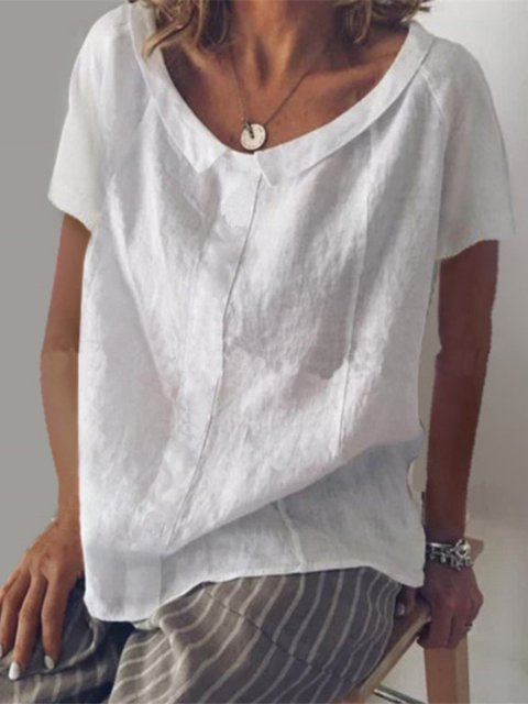 Women Blouses Casual V Neck Solid Short Sleeve Blouses