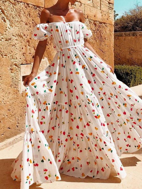 Floral Print Women Swing Sexy Vacation Maxi Dresses