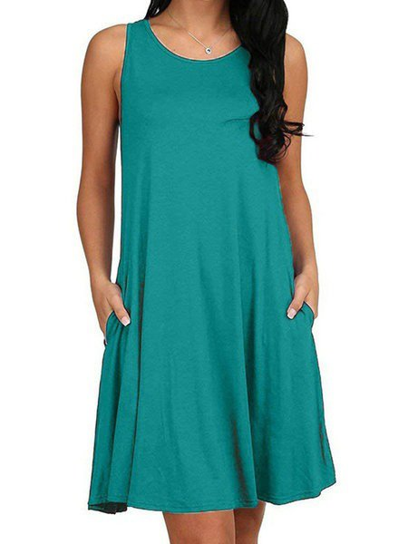 Crew Neck Women Dresses Daily Plain Dresses