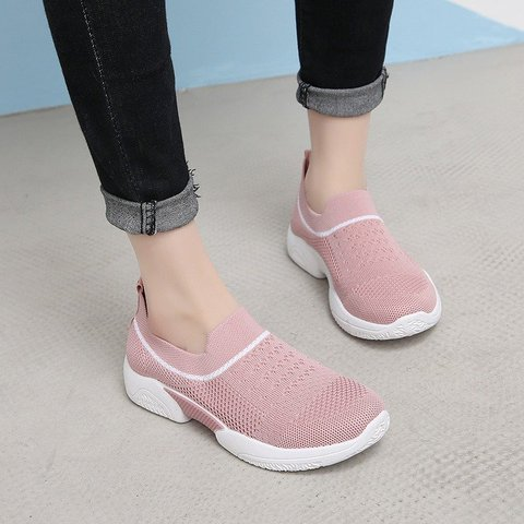 Women Athletic Outdoor Breathable Flyknitted Slip On Sneakers
