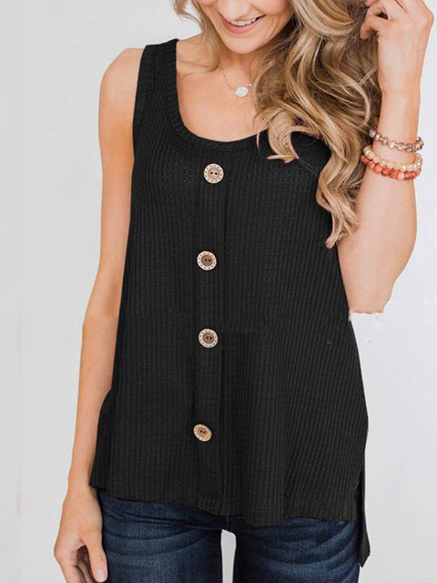 Summer Sleeveless Buttoned Solid Casual Tank Tops