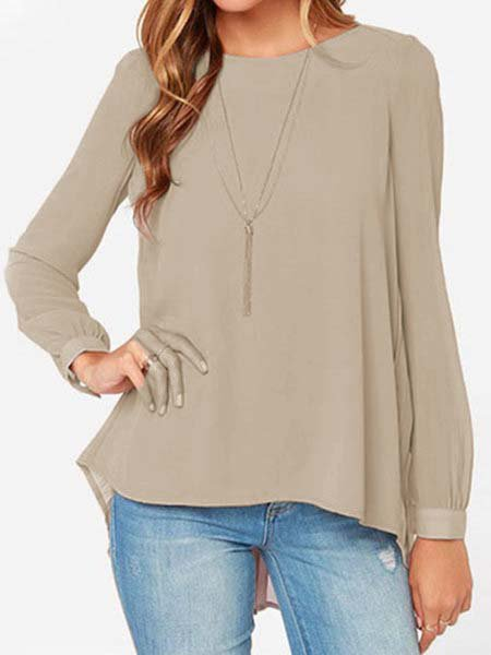 Women Long Sleeve Solid Crew Neck Pleated Blouse