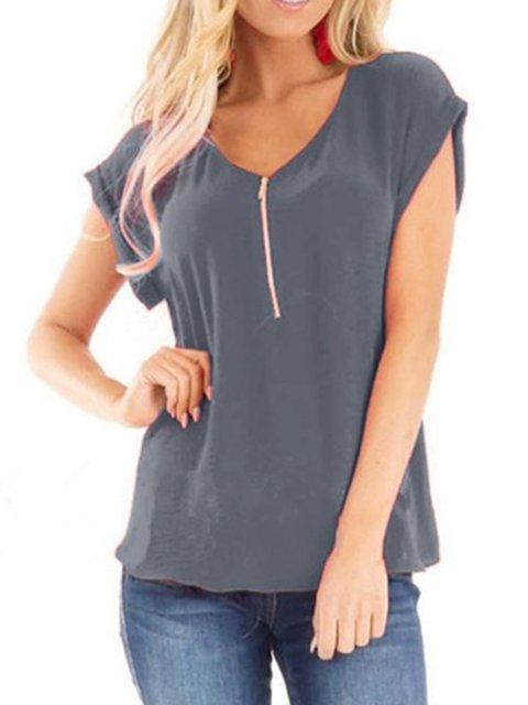 Plus Size Zipper Solid Simple Women Summer Basic T-shirts