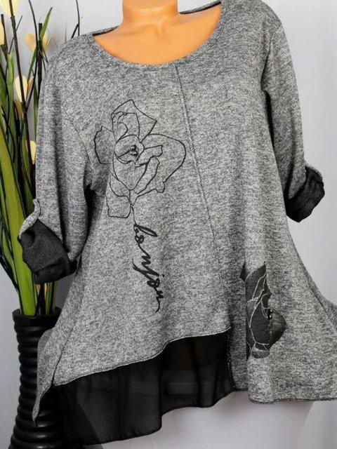 Size S-5XL Women Tops Floral Paneled Asymmetrical T-Shirts