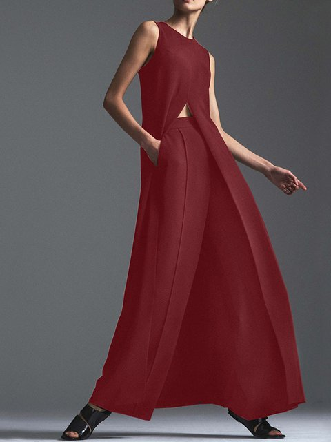 Asymmetric Slit Sleeveless Dresses and Pants Two Piece Suits