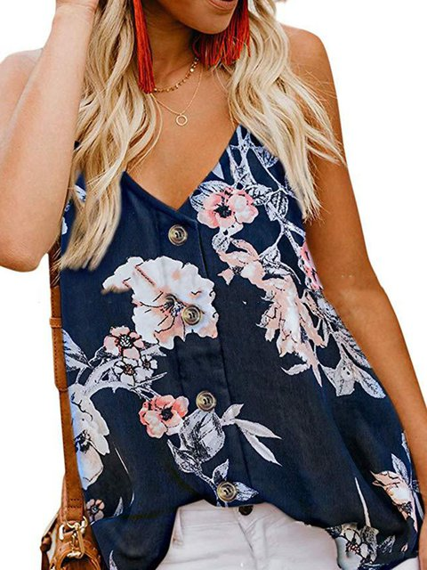 Summer Spaghetti Tops V-Neck Buttoned Floral Camis