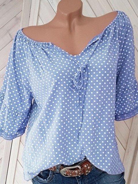 Size S-5XL Women Blouses Polka Dots Half Sleeves V-Neck Sweet Tops