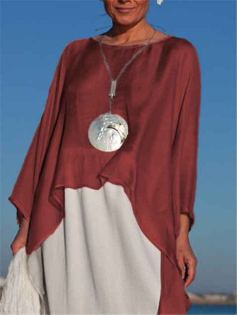 Cotton-Blend Asymmetrical Long Sleeve Shirts & Tops