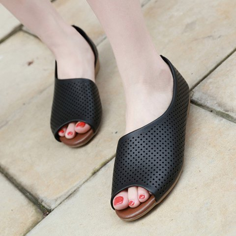Fashion Perforated Detail Side Cutout Slip On Shoes