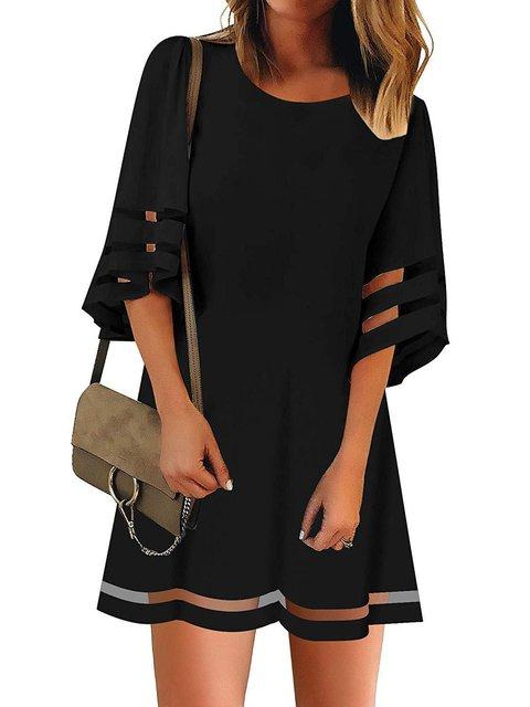 Horn Sleeve Gauze Stitching A-line Skirt Dress