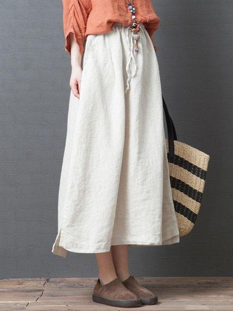 Women Summer Plain Skirts Casual Cotton Skirts